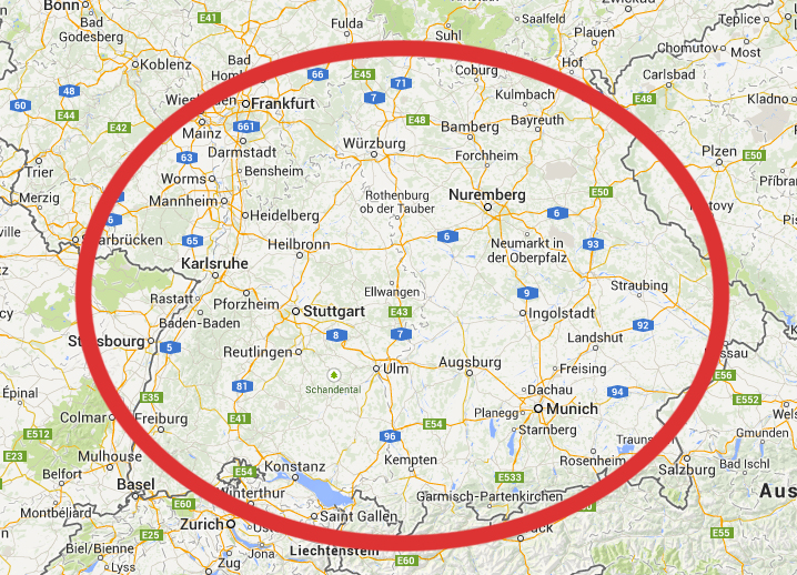 Maps Update 16201125 Southern Germany Map Map of Southern – Map Southern Germany