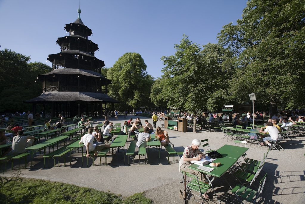 The Chinese tower Pagoda 1789 Beergarden or beergarten at the English Gardens. Munich, Germany